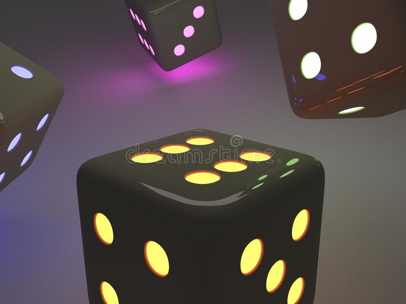 Bright modern dice. Modern black dice with colored lights, placed on an infinite background black colo, 3d illustration stock illustration