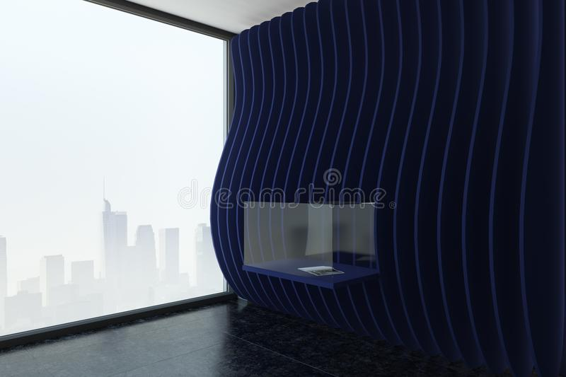 Modern black exposition room. With installation and city view. Museum and gallery concept. 3D Rendering stock illustration