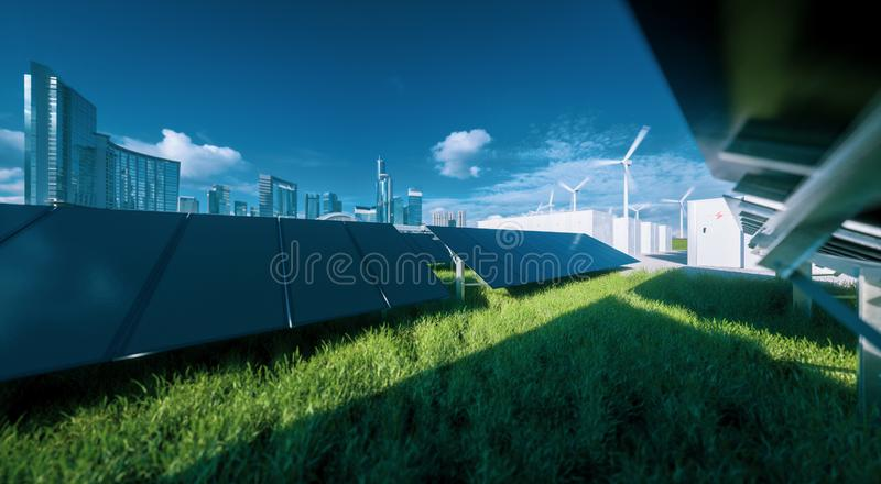 Modern black frameless solar panel farm, battery energy storage and wind turbines on fresh green grass under blue sky - concept of stock illustration