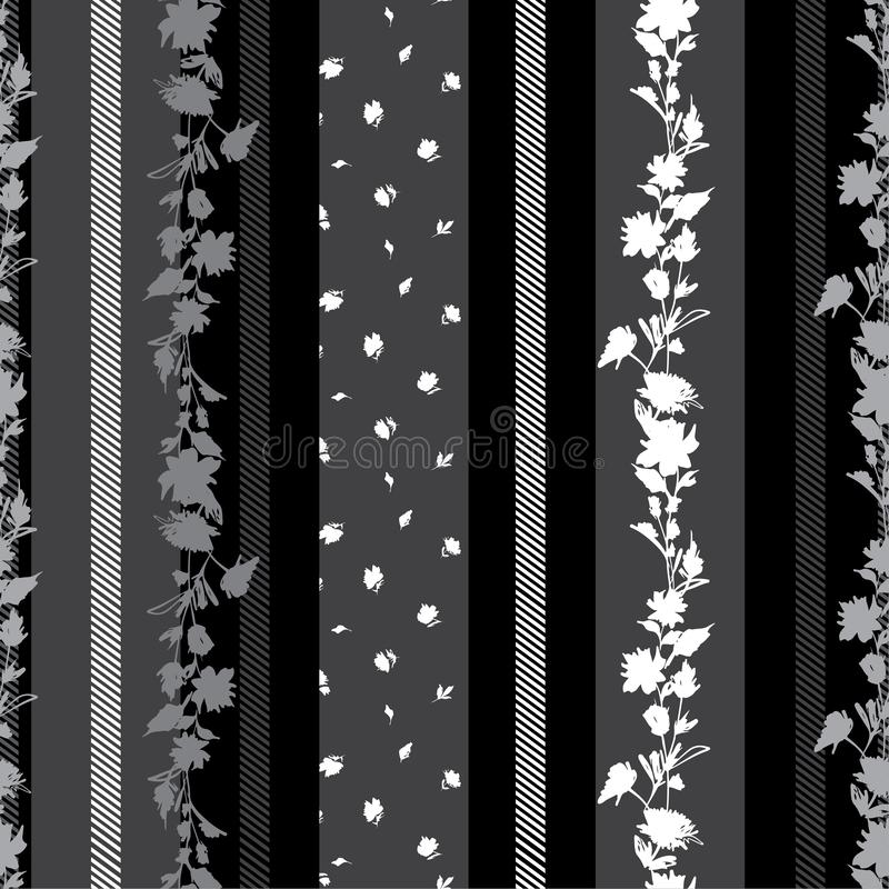 Modern black and grey Seamless pattern with delicate Floral  with stripes amd pattern small flowers mixed wallpaper. Modern vertical black and grey Seamless stock illustration