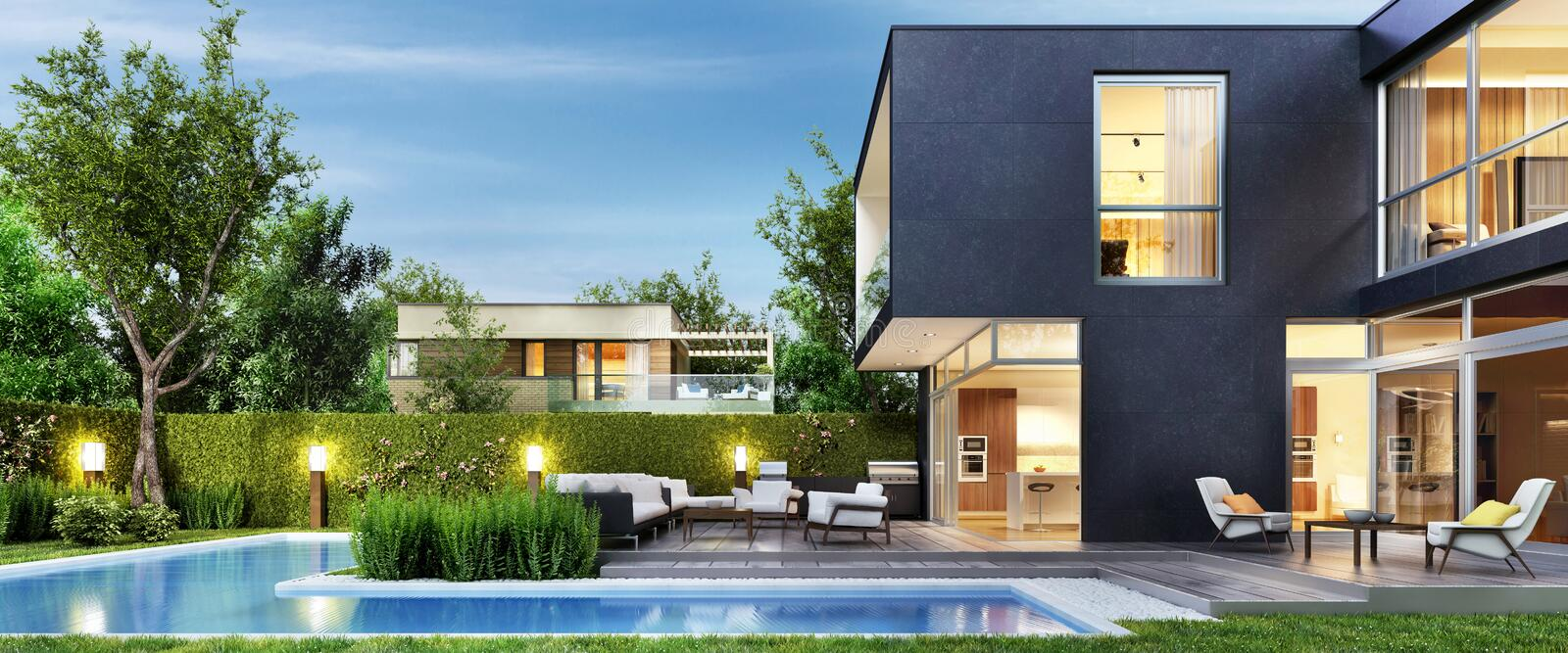 Modern black house with patio and pool. Evening view. Interior and exterior stock illustration