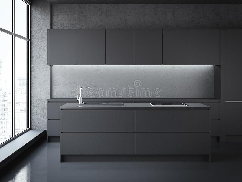 Modern black kitchen. 3d rendering vector illustration