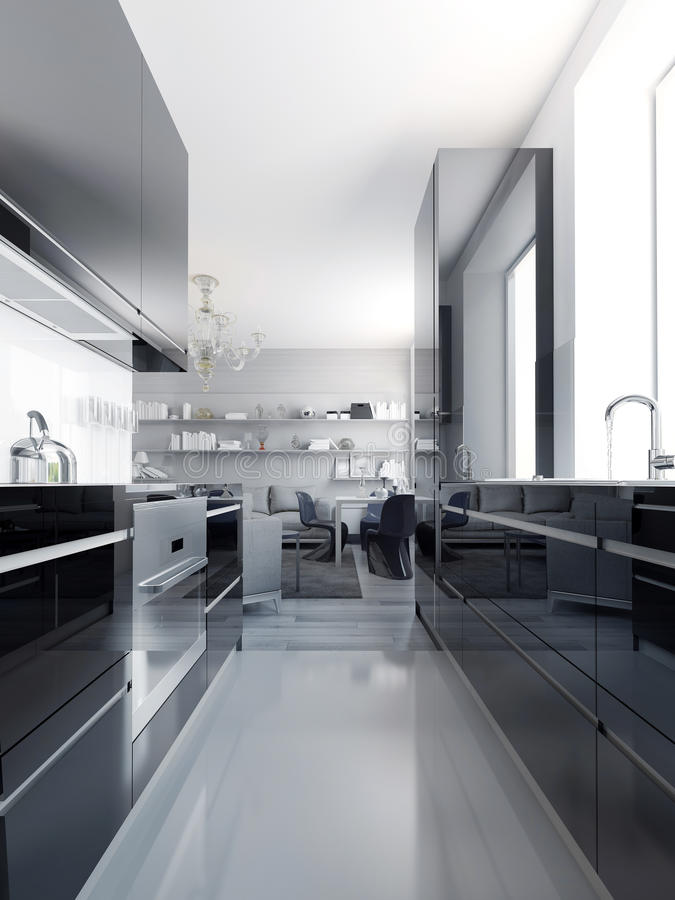 Modern black kitchen interior. Glossy cabinets black color with white acrylic countertop. Light grey polished concrete flooring. 3D render vector illustration