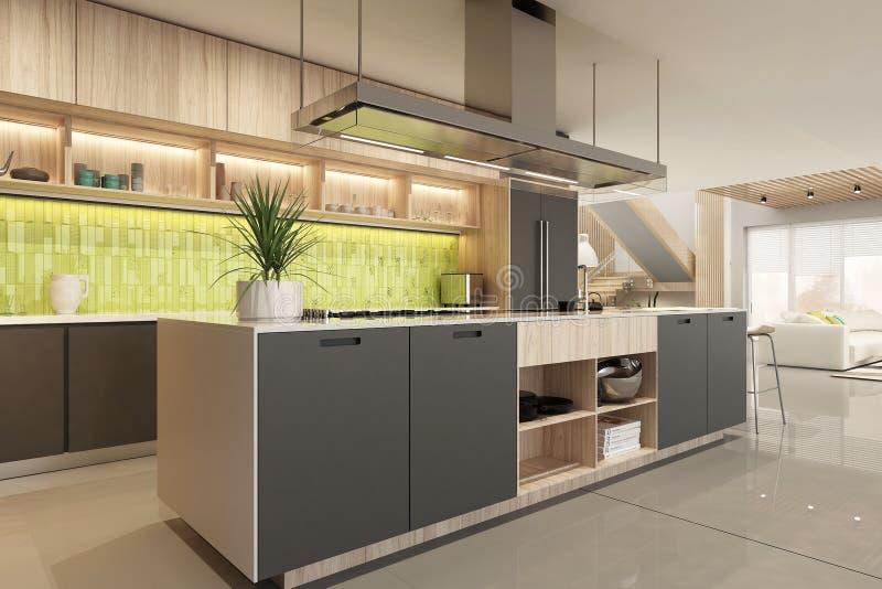 Modern black kitchen interior in scandinavian style stock photo