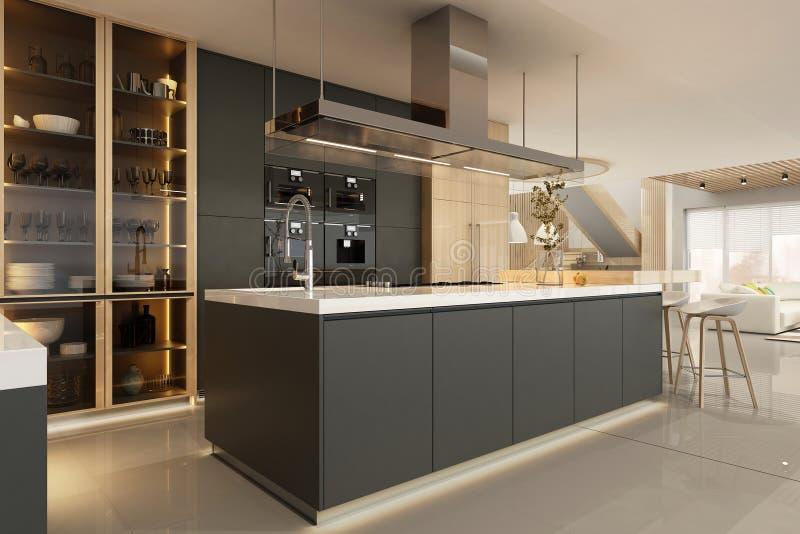 Modern black kitchen interior in scandinavian style royalty free stock photography