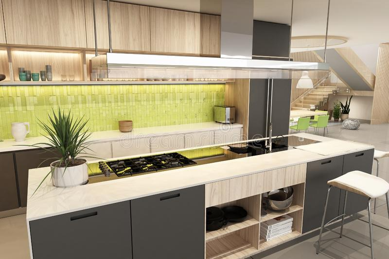 Modern black kitchen interior in scandinavian style stock images