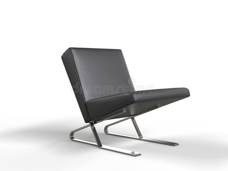 Modern black leather armchair stock illustration