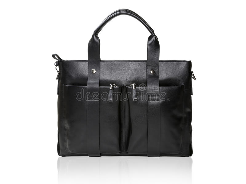 Modern black leather men casual or business briefcase. stock photography