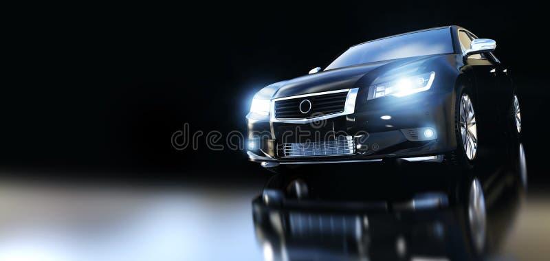 Modern black metallic sedan car in spotlight. vector illustration