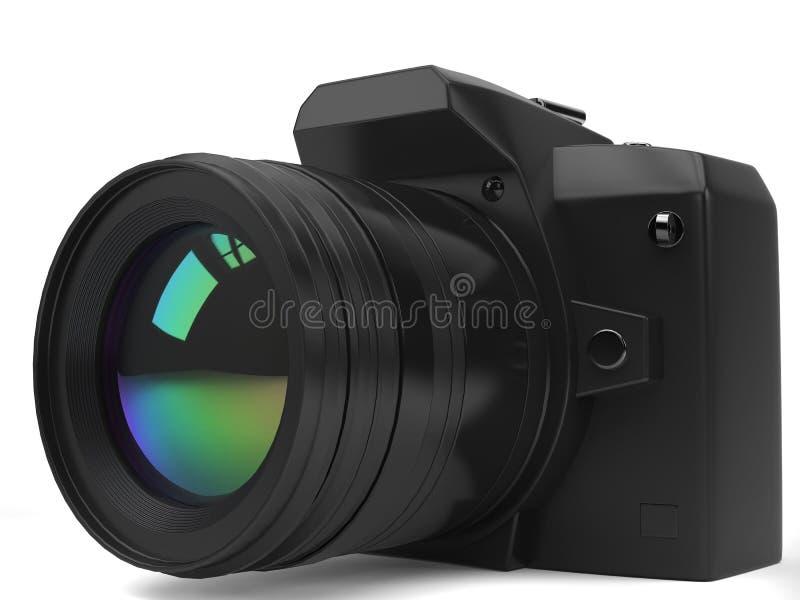 Modern black photo camera - front closeup shot. Isolated on white background stock illustration