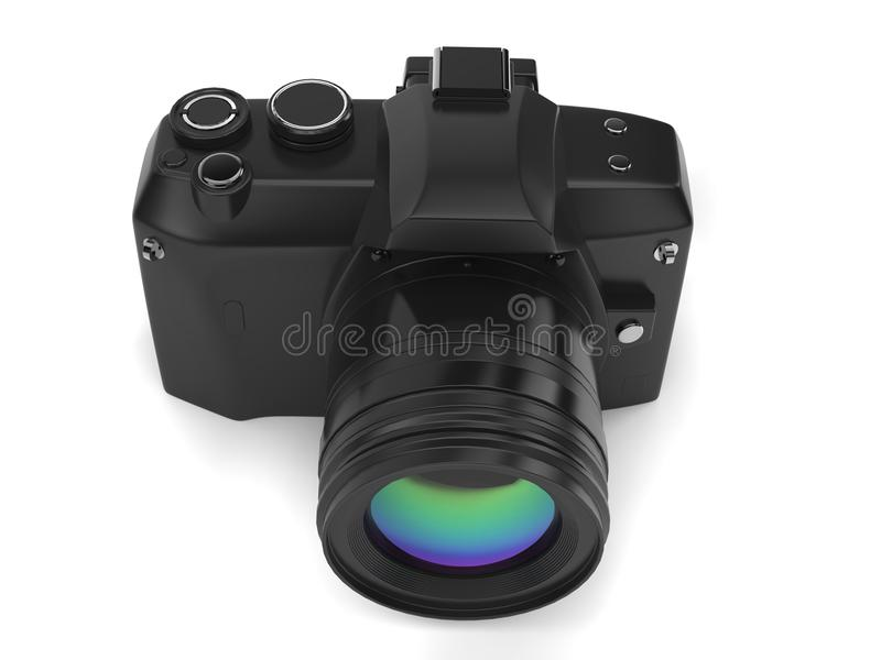Modern black photo camera - top view. Isolated on white background stock illustration