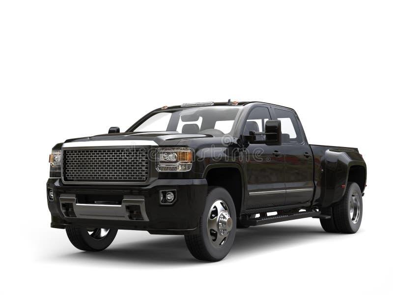 Modern black pickup truck - isolated on white stock illustration