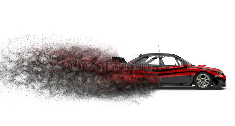 Modern black and red touring race car - beauty shot stock illustration