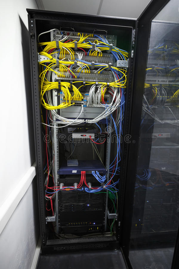 Modern black server cabinet royalty free stock photo