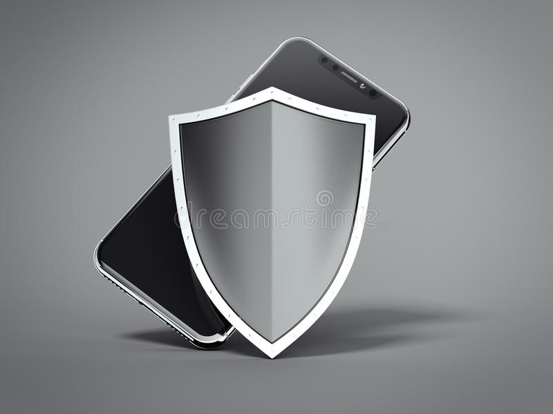 Modern black smartphone with shield. 3d rendering royalty free illustration