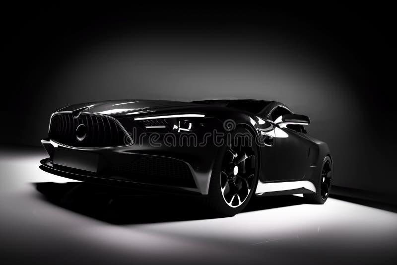 Modern black sports car in a spotlight on a black stock illustration