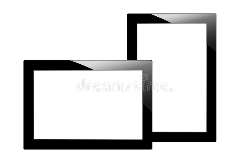 Modern black tablet computer isolated on white background. Two Tablet pc and screen with blank for your information royalty free illustration