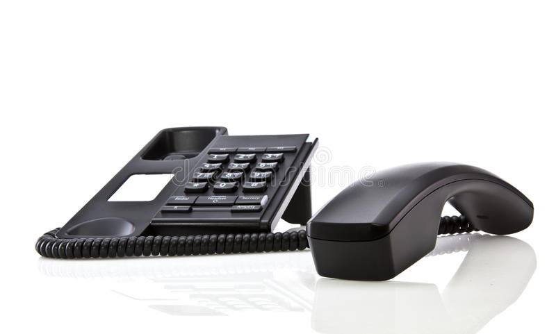 Modern black telephone stock image
