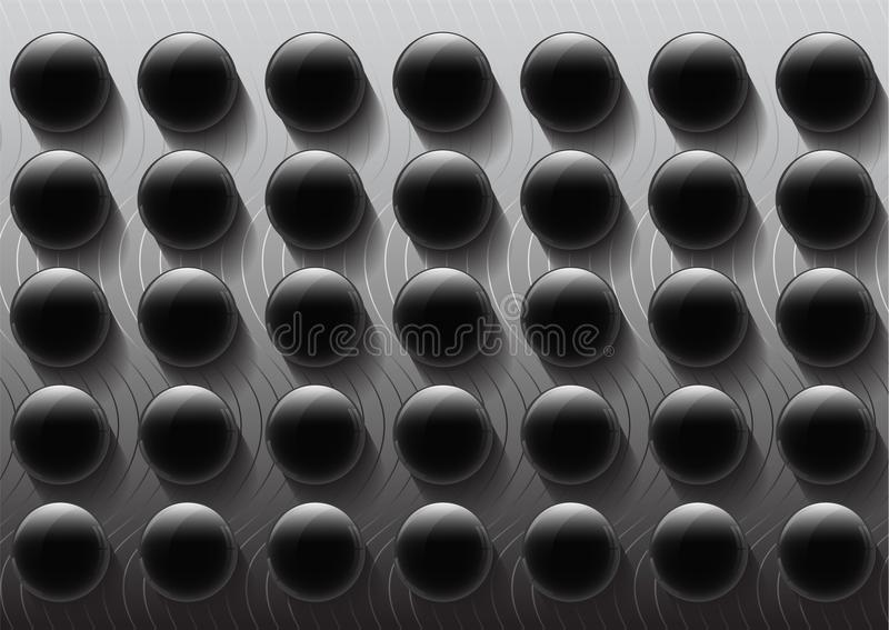 Modern black and white glossy geometric button with shadow abstract background pattern royalty free illustration