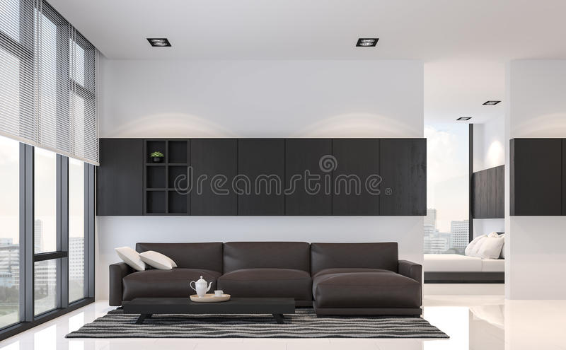 download modern black and white living room and bedroom interior 3d rendering image stock illustration
