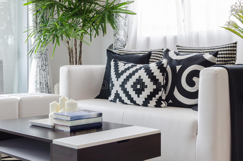 Modern black and white living room royalty free stock photos