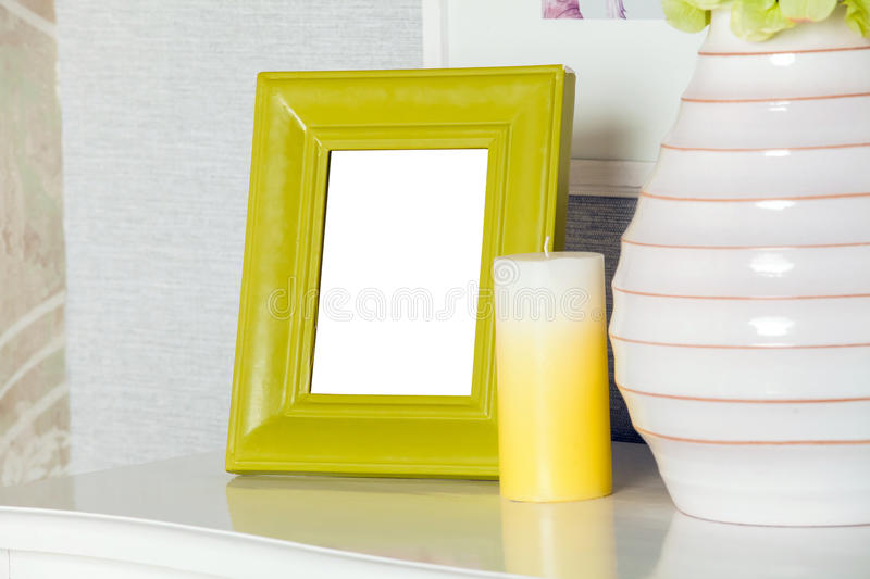 Modern blank photo frame on the modern drawer stock photos