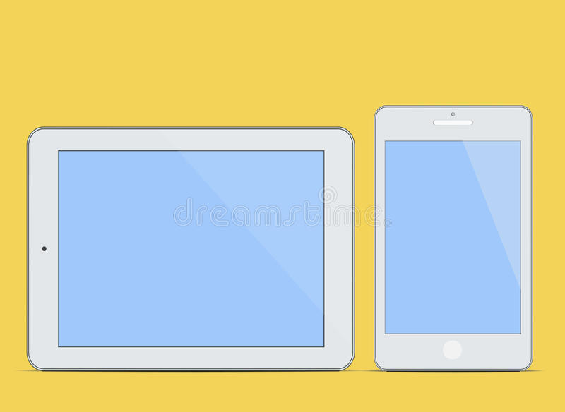 Modern blank Tablet PC and Smart phone Screen new Computer Technology concept background vector illustration