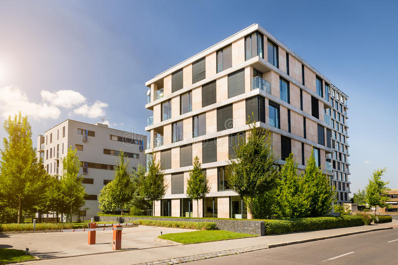 Download modern block of flats with blue sky stock image image of asphalt block