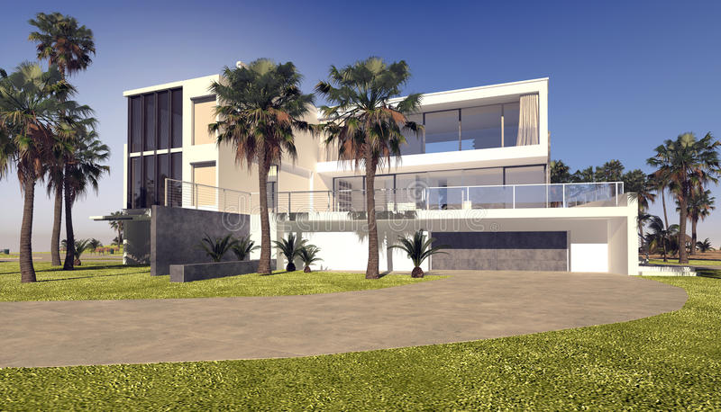 Modern blocky whitewashed luxury tropical villa. With a rectangular flat roofed design in a landscaped garden with palm trees stock illustration