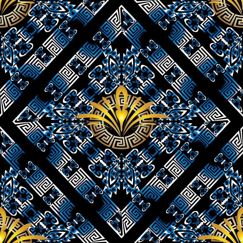 Modern bloemen Grieks zeer belangrijk meander vector naadloos patroon vector illustratie