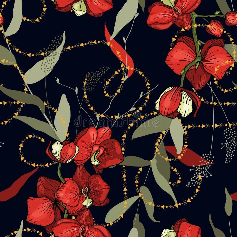 Modern bloemenontwerp voor huistextiel, sjaal Getrokken hand Vector illustratie Kettingen botanisch naadloos patroon met bloemen  vector illustratie