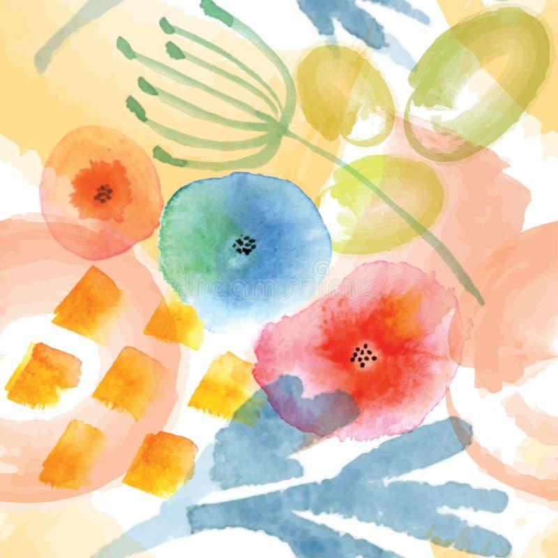 Modern blom- sömlös modell i vattenfärgteknik vektor illustrationer