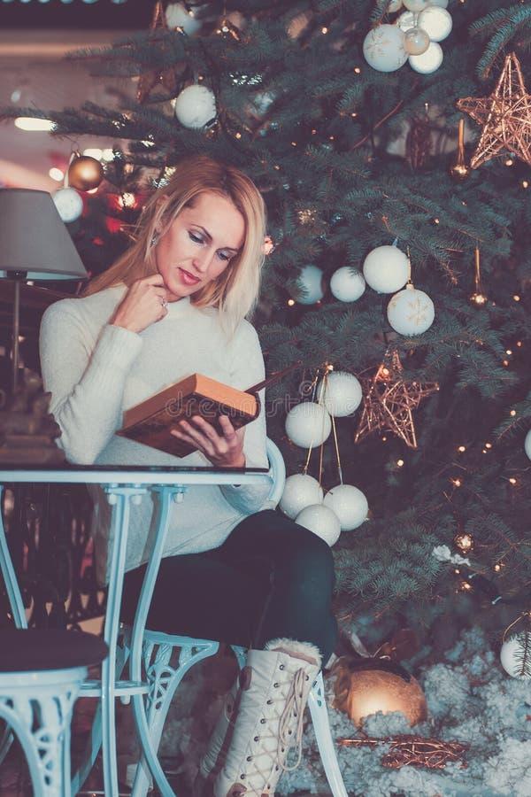 Modern long hair woman celebration Christmas. Modern blonde long hair woman celebration Christmas stock photography