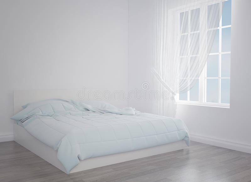 Download Modern Blue Bed In The Light Room Near Empty Wall Mockup 3d