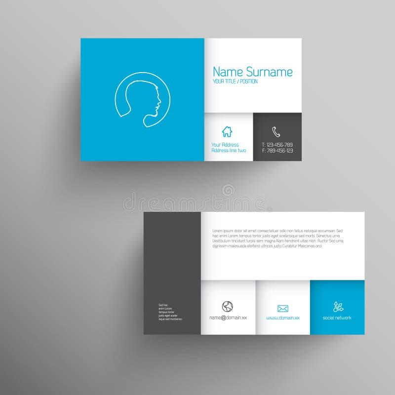 Modern Blue Business Card Template Stock Illustration - Illustration ...