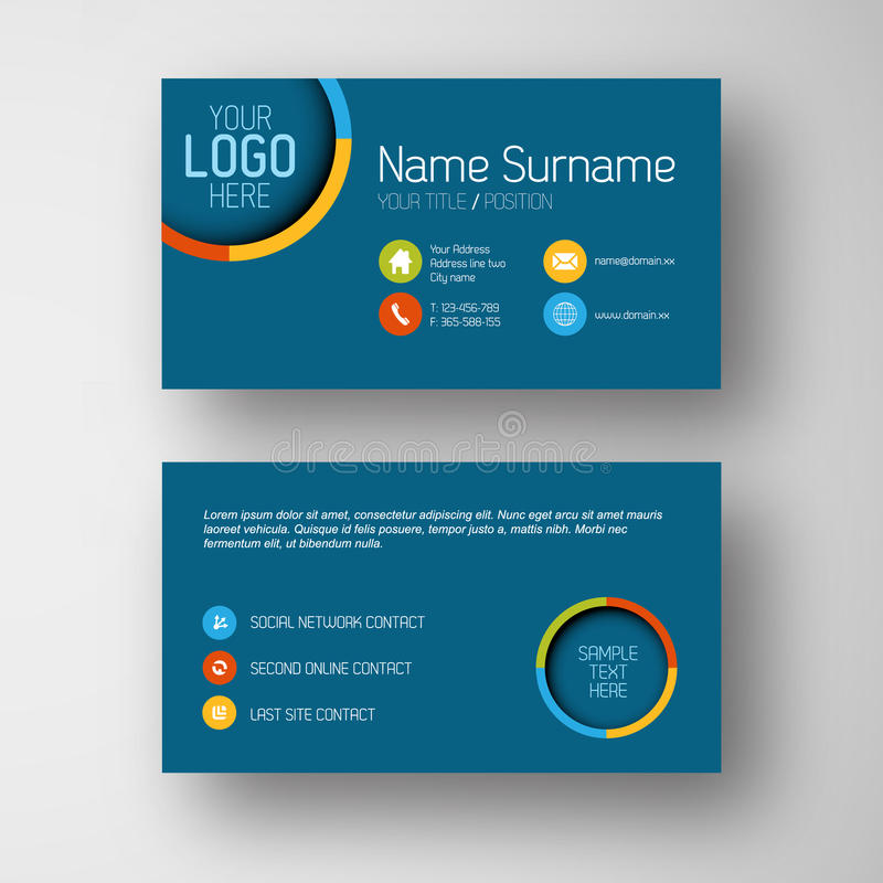 Free Modern Blue Business Card Template With Flat User Interface Royalty Free Stock Image - 39727636