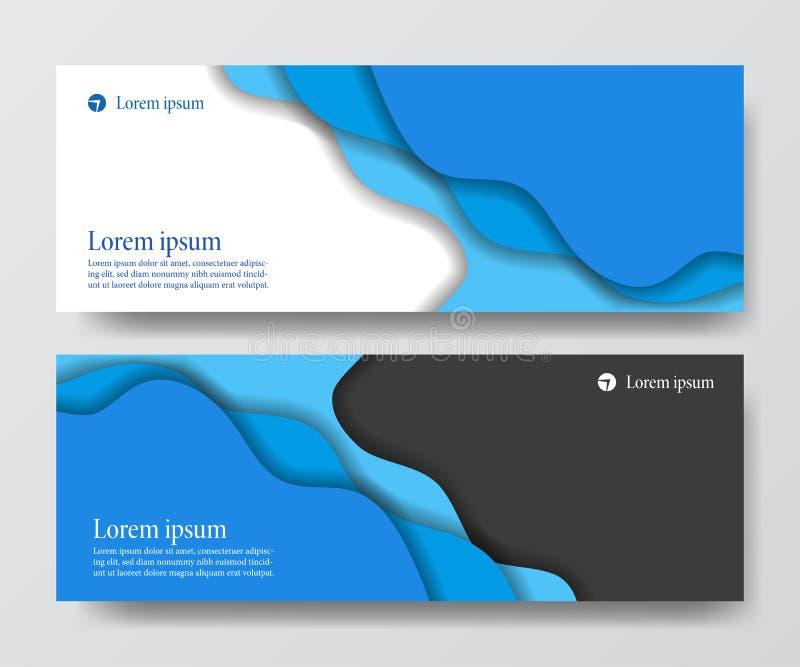 Modern blue business header banner set wave origami paper cut craft. Vector poster card flyer template vector illustration