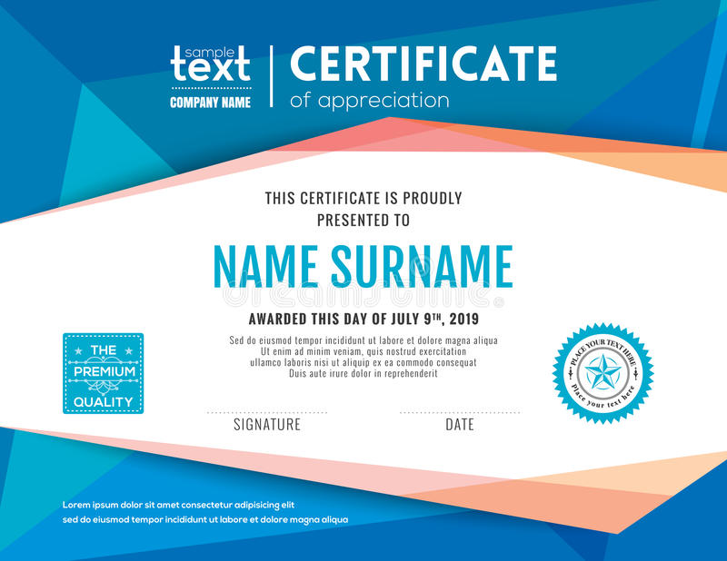 Modern blue certificate background design template royalty free illustration