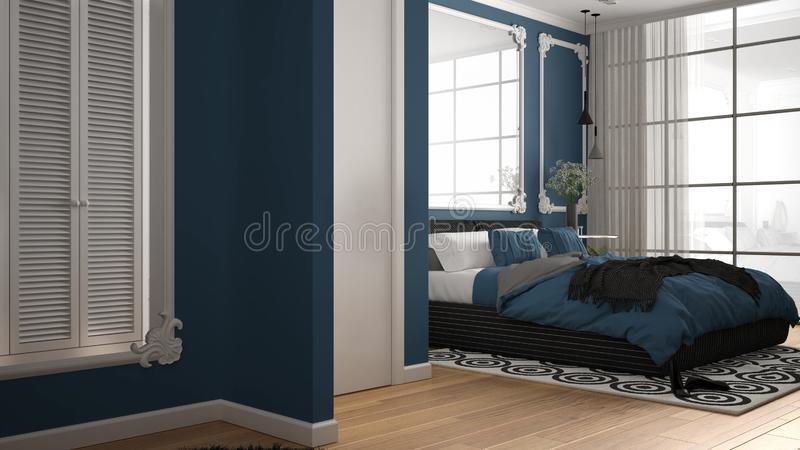Modern blue colored bedroom in classic room with wall moldings, parquet, double bed with duvet and pillows, minimalist bedside. Tables, mirror and decors vector illustration