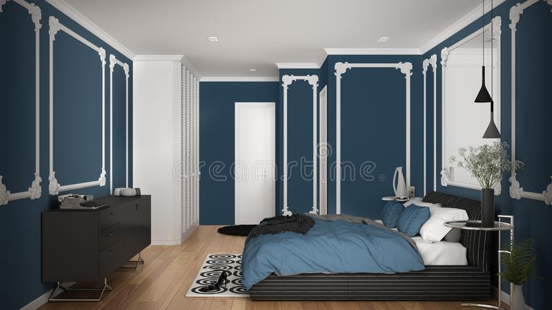 Modern blue colored bedroom in classic room with wall moldings, parquet, double bed with duvet and pillows, minimalist bedside. Tables, mirror and decors stock illustration