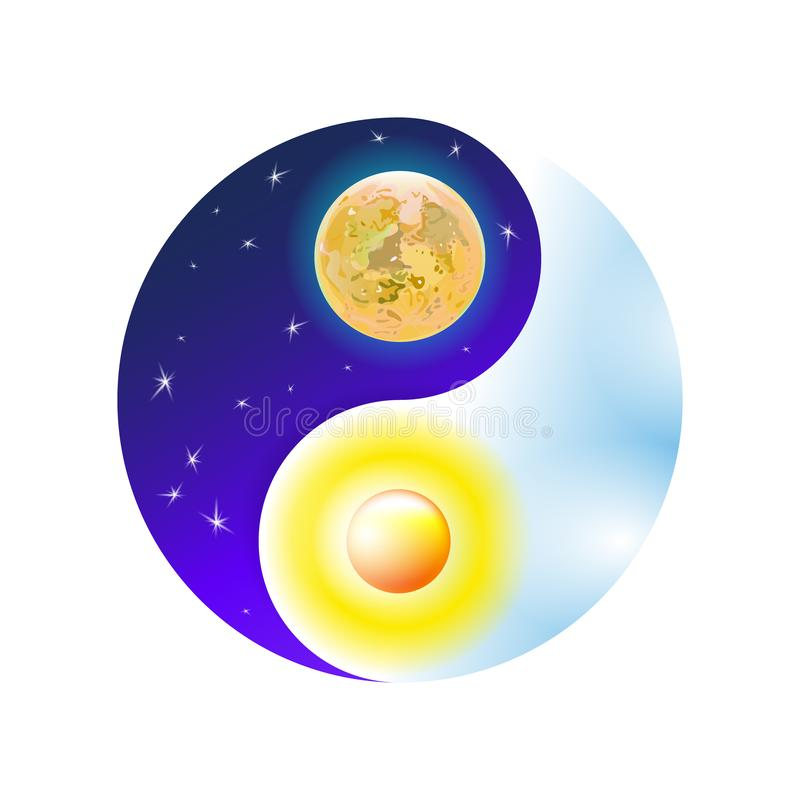 Modern blue and cosmic concept Yin and Yang mandala. Colorful sun or ornamental moon, spiritual relaxation. Beautiful decorative stock illustration