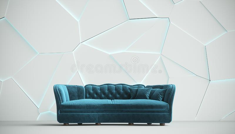 Surprising Modern Blue Fabric Sofa Chesterfield Style In White Room Gamerscity Chair Design For Home Gamerscityorg