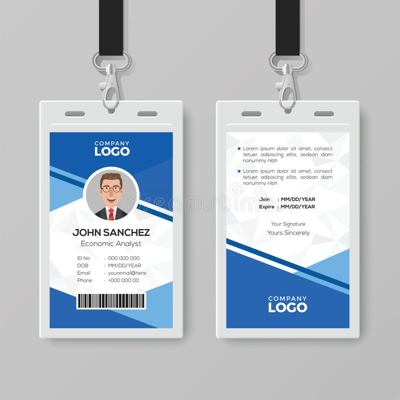 simple blue office id card template stock vector