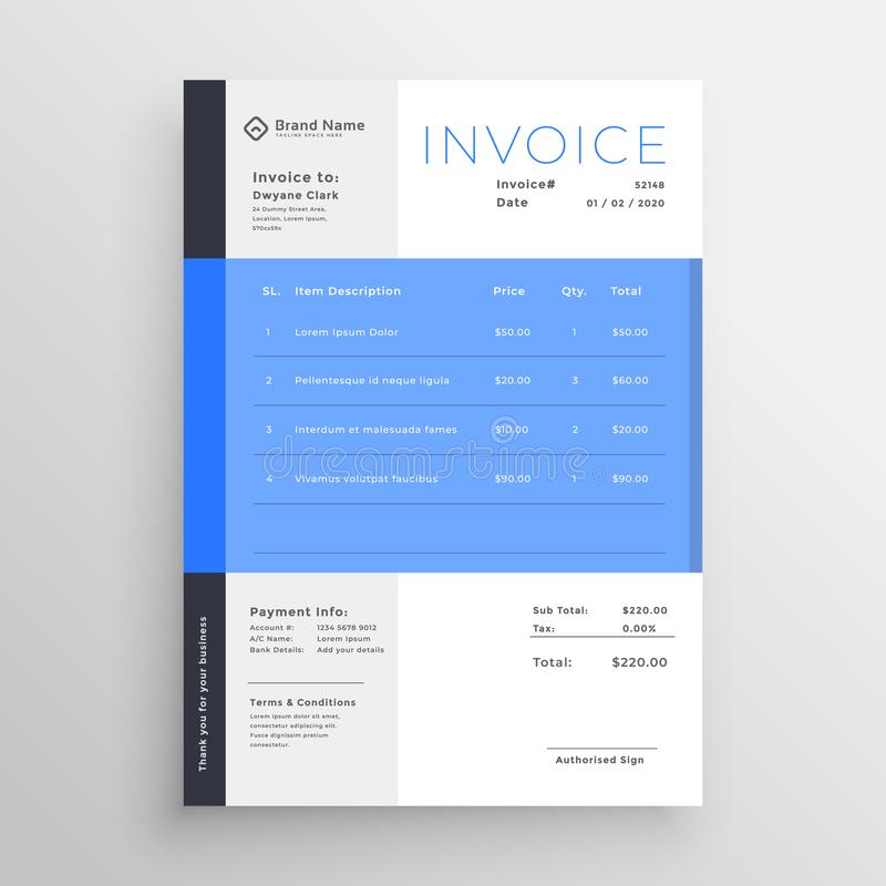 Modern blue invoice template design royalty free illustration