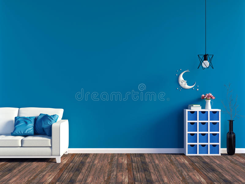 Modern blue living room interior - white leather sofa and blue wall panel with space. 3D rendering vector illustration