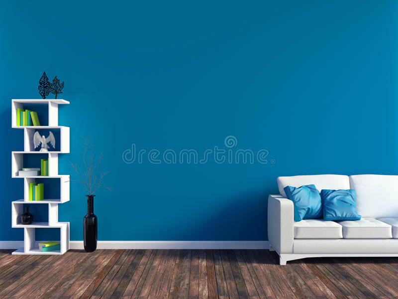 Modern blue living room interior - white leather sofa and blue wall panel with space vector illustration
