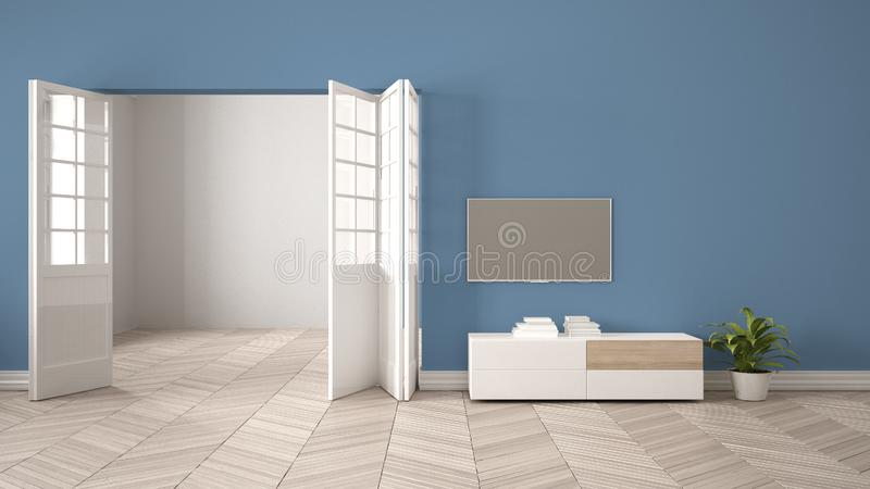 Modern blue living room with white furniture and tv, blank wall background with open door, herrigbone parquet, template background stock illustration