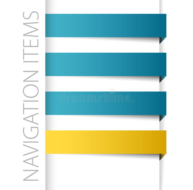 Modern blue navigation items. In right bar on white background (vector royalty free illustration
