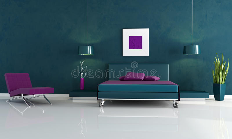 Download Modern Blue And Purple Bedroom Stock Illustration   Illustration  Of Covered, Pillow: 10983443