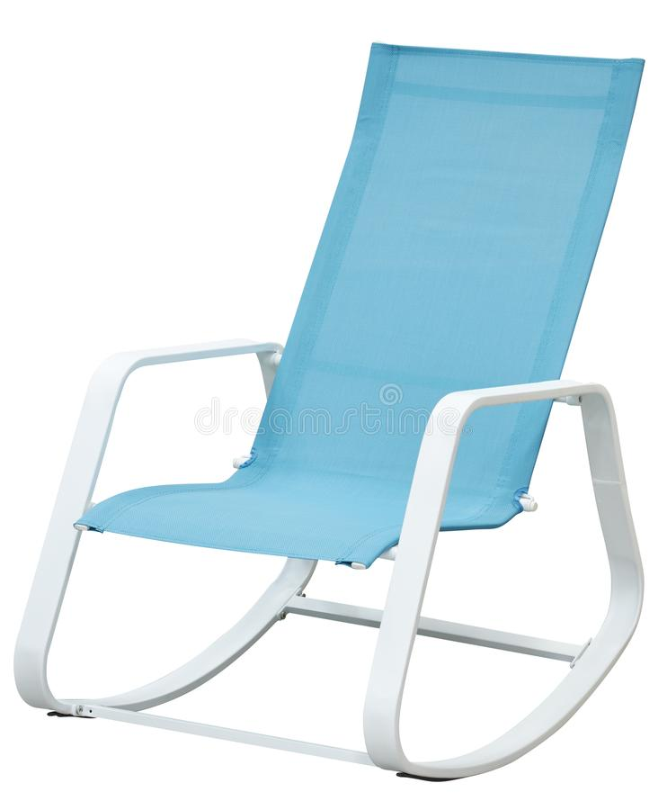 Modern blue rocking chair on white background stock image